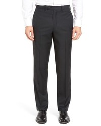 JB Britches Flat Front Check Wool Trousers