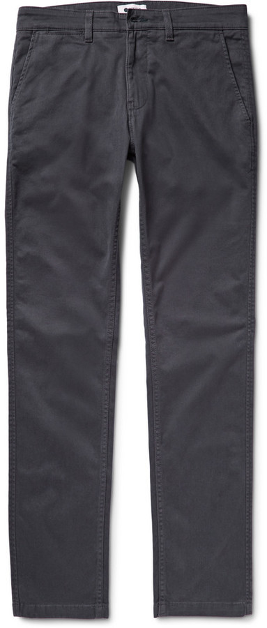 NN.07 Marco Slim-fit Stretch-cotton Twill Chinos - Charcoal ASwxklvB