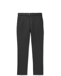 Officine Generale Charcoal Paul Tapered Gart Dyed Cotton And Linen Blend Trousers