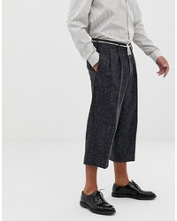 ASOS WHITE Cropped Balloon Smart Trousers In 100% Wool Cross Hatch