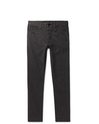 James Perse Dark Grey Slim Fit Pigt Dyed Stretch Cotton Trousers