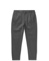 Ermenegildo Zegna Grey Slim Fit Cotton And Silk Blend Drawstring Trousers