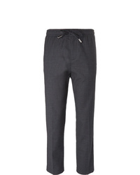 Mr P. Slim Fit Grey Stretch Wool And Cotton Blend Drawstring Trousers
