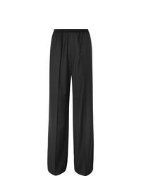 Balenciaga Wide Leg Checked Virgin Wool Trousers