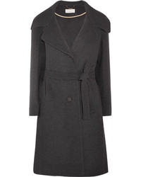 Chloé Belted Wool And Cashmere Blend Coat Charcoal