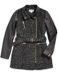 Girls Coffee Shop Wool Faux Leather Boucle Coat
