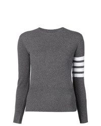 Thom Browne Crewneck Pullover With White 4 Bar Stripe In Grey Cashmere