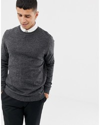 ASOS DESIGN Knitted Crew Neck Jumper In Charcoal