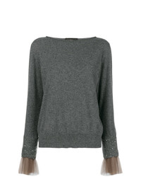 Fabiana Filippi Tulle Cuff Embellished Sweater