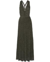 Missoni Metallic Crochet Knit Maxi Dress Gray