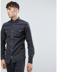Stradivarius Denim Shirt In Grey