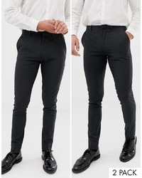 ASOS DESIGN 2 Pack Super Skinny Smart Trousers In Charcoal Save