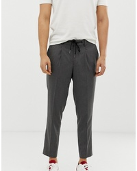 Selected Homme Ankle Length Smart Trouser With Drawstring Waist In Grey