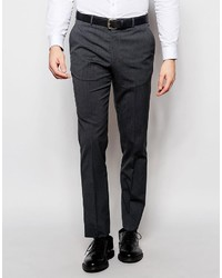 Asos Brand Slim Suit Pants With Stretch In Charcoal