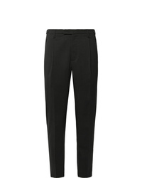 Barena Charcoal Tapered Pleated Prince Of Wales Checked Stretch Virgin Wool Suit Trousers