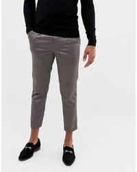 ASOS DESIGN Cigarette Suit Trousers In High Shine Gunmetal Sa