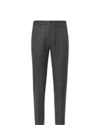 Incotex Dark Grey Tapered Wool Blend Trousers