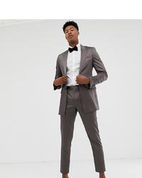 ASOS DESIGN Tall Cigarette Suit Trousers In High Shine Gunmetal Sa
