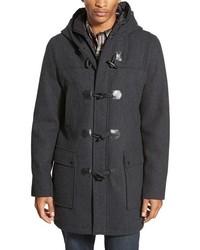 Black Rivet Longline Duffle Coat With Zip Out Bib