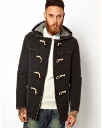 Gloverall Knitted Duffle Coat Grey