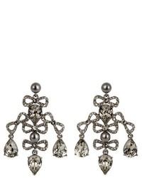 Oscar de la Renta Bow Crystal Embellished Earrings