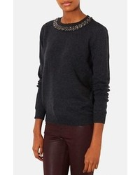 Charcoal Embellished Crew-neck Sweater