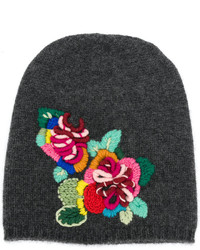 Ermanno Scervino Floral Embroidered Beanie Hat