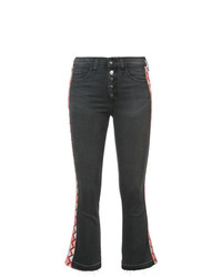 Veronica Beard Cropped Jeans With Embroidered Side Panels