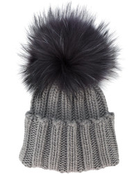 Inverni Grey Wide Ribbed Cashmere Hat With Fur Pom Pom