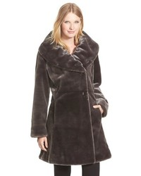 Ruched collar faux fur coat medium 391009