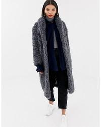 Mango Shaggy Faux Fur Coat In Grey