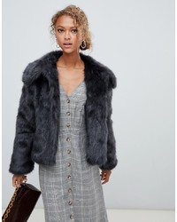New Look Faux Fur Short Coat In Grey