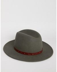Asos Fedora In Charcoal With Belt Trim