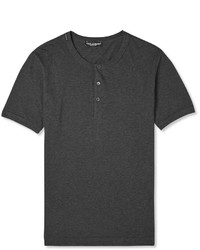 Dolce & Gabbana Mlange Cotton Henley T Shirt