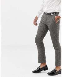 Twisted Tailor Super Skinny Suit Trouser In Grey Herringbone