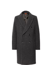 Barena Double Breasted Herringbone Wool Blend Coat
