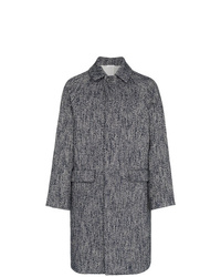 Jil Sander Single Breasted Herringbone Virgin Wool Blend Coat
