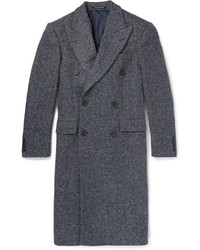 Richard James Slim Fit Herringbone Wool Blend Overcoat
