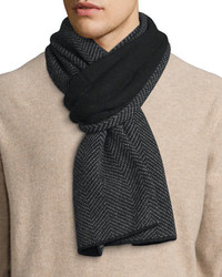 Goodmans herringbone knit cashmere scarf black medium 388703