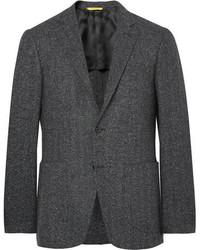 Charcoal Herringbone Wool Blazer