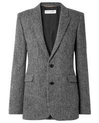Saint Laurent Herringbone Wool Blazer