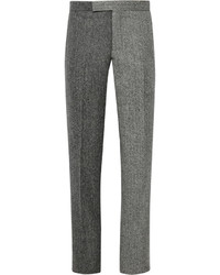 Charcoal Herringbone Wool Dress Pants
