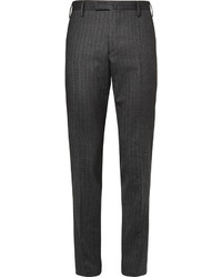 Slim fit herringbone wool and cotton blend trousers medium 328735