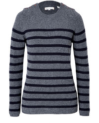 Charcoal Horizontal Striped Crew-neck Sweater