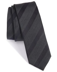 BOSS Stripe Silk Wool Skinny Tie