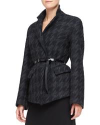 Donna Karan Belted Convertible Jacket Blackcharcoal