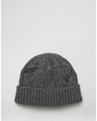 Asos Cable Fisherman Beanie In Gray
