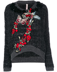 Embellished cable knit sweater medium 4469830