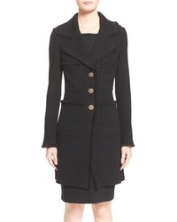 St. John Collection Fringe Trim Milano Pique Knit Coat