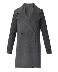 Vince Knitted Sleeeve Double Faced Wool Coat